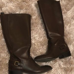 Dark brown chaps riding boots